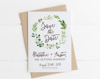 Greenery Save the Date Card, Printable, Simple Rustic Wedding Announcement, Watercolor Eucalyptus, Neutral Classy, Modern Outdoor