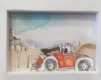 Watercolor painting, Original art work, Miniature, Watercolor beach, Volkswagen, Wall art
