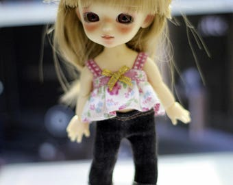 Top and Jean Pants With Head Band For Lati Yellow / Pukifee Outfit #L034