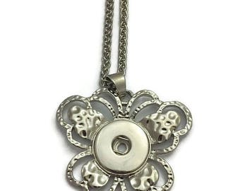 Snap Jewelry, Snap Necklace, Snap Button Jewelry, Snap Interchangeable Jewelry, Fits 18mm Snap Buttons and Charms, Butterfly Snap Necklace