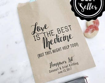 Wedding Hangover Kit Bags! - Love is the Best Medicine - Favor Bags - Custom Printed on Kraft Brown Paper Bags