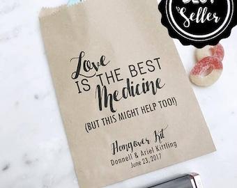 Wedding Hangover Kit Bags! - Love is the Best Medicine - Favor Bags - Custom Printed on Kraft Brown Paper Bags