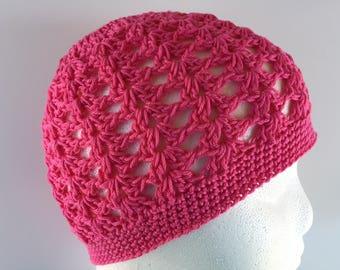READY TO SHIP/Pink Hat/Lightweight Cotton Hat/Crochet/Knit Knitted Hat/Soft/Cute/Pretty/Spring Summer Hat/Cap/Beanie/Toque/Adult/Women/Girls