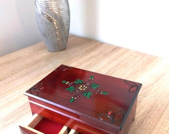 Wooden jewelry box, storage jewelry commode, watch box with drawers, commode with drawers, storage box for jewelry, make up box with mirror