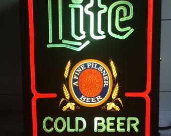 Vintage Lite Cold Beer Lighted Sign