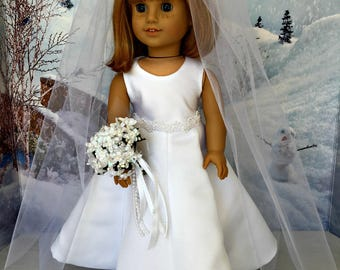American Girl Collectible Wedding Dress - 18 inch doll wedding Gown, veil, bouquet, shoes -  fits American Girl and similar 18 inch dolls