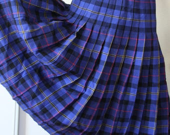 Blue Plaid Long Pleated Skirt