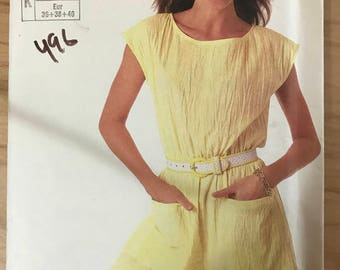 Simplicity 7527 - 1980s  Super Saver Easy to Sew Romper Jumpsuit with Elastic Waistline Casing - Size 8 10 12
