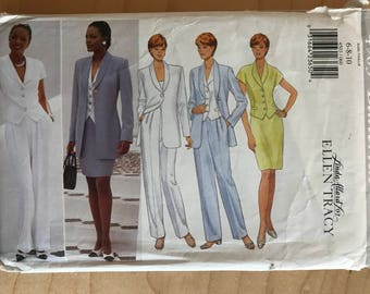 Butterick 4503 - Linda Allard for Ellen Tracy Shawl Collar Button Front Shirt and Jacket, Straight Skirt and Pants - Size 6 8 10