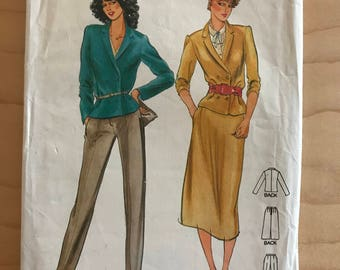 Butterick 6772 - 1980s Double Breasted Notched Collar Jacket, Below Knee Straight Skirt, and Straight Legged Pants - Size 10 Bust 32.5