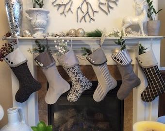 Grey Christmas Stocking, Gray and White Stocking,Modern Stocking, Tailored Stocking, Buttoned Christmas Socks, Mantle Decor, Gift Socks