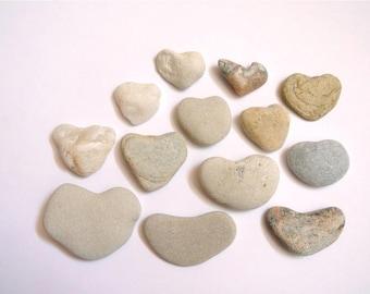 Heart Shaped Stones, 13pcs, Heart Pebbles, Beach Stones, Beach Pebbles, Beach Finds, Stones for Crafts, Stone Hearts