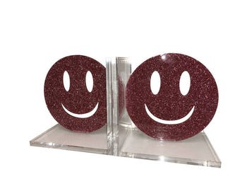 Smiley Face Acrylic Lucite Bookends