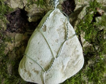 Lakestone Wire - Wrapped Pendant from Lake Michigan