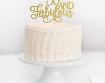 SALE - 50 and Fabulous Cake Topper, 50th Birthday Cake Topper, 50th Birthday Decor, Adult Birthday Cake Topper, Milestone Birthday Topper