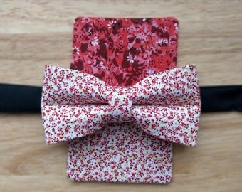 Red Floral Bowtie with Faux Pocket Square - Mens, Boys, Bowties, Formal, Unusual, Fun, Cruise, Wedding, Set, Summer, Flowers