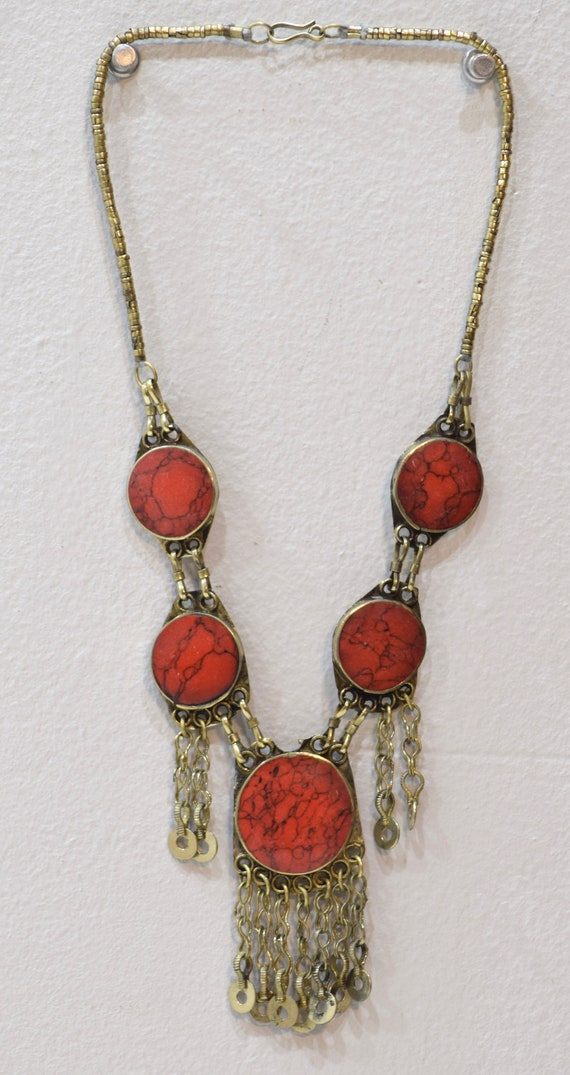 Necklace Middle East Simulated Round Coral Tribal Necklace 26""