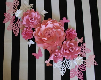 Paper flower backdrop, Nursery paper Flowers, Paper flowers for first birthday, Cake smash photo prop, Photo backdrop.