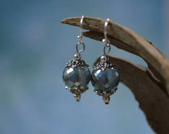 Victorian Style Faceted Crystal Earrings - Light Blue