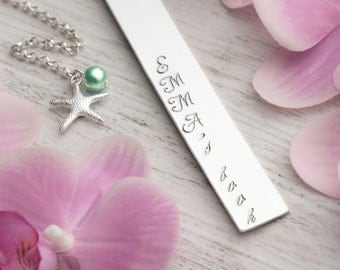cute bookmark name, charm starfish wedding favors bookmark, book mark, personalized gift book lover, emma jewelry