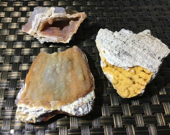 Fossilized Coral Orange/Yellow Druzy Lot of 3 5-31-2-17