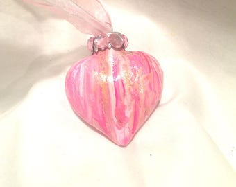 Pink White Gold Hand Swirl Acrylic Pour Glass Heart Ornament Rhinestones Ribbon
