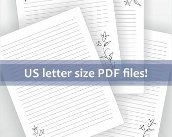 Printable letter writing paper. US letter size lined stationery. Digital download for pdf file. Lily flower detail.