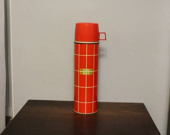 "Vintage Red Plaid ""THERMOS"" Thermos No 2434 13 1/2"" Tall"