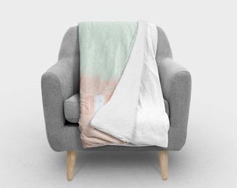 dream pastel sherpa fleece blanket minimal bedding modern blanket home decor toddler