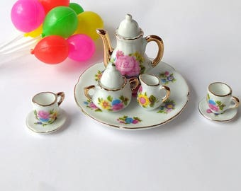 Miniature Tea Set   Fairy Tea Set   Fairy Garden Accessories   Dollhouse Miniatures
