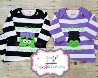 Halloween Baby Gown, Mommy's Monster Gown, Mommy's Monster, Halloween Pajama, Halloween PJ, Monster Embroidery, Applique