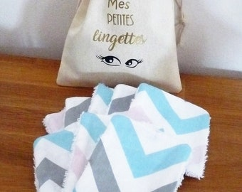 8 wipes geometric Scandinavian + pouch eco-friendly cotton/Terry baby/woman debarbouillantes/cleansing