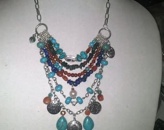 Boho Gemstone ,Zodic Charmed Sundance Inspired Necklace.