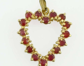 14Kt Yellow Gold Large 0.75ct Ruby Heart Pendant Charm