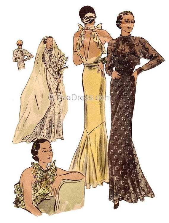 1930s Dresses, Clothing & Patterns Links 1934 Evening or Wedding Gown Pattern by EvaDress $25.00 AT vintagedancer.com