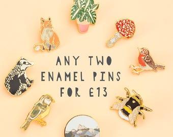 Any 2 Enamel Pins Deal   Pin Badge   Hard Enamel Pin   Gold Enamel Pin   Wildlife   Nature Pin   Lapel Pin   Plant Pin   Wildlife Pin