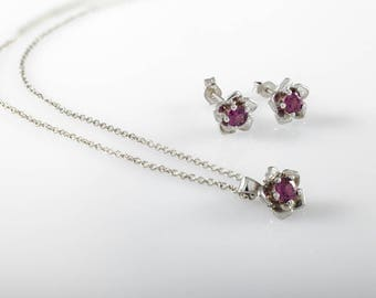 Flower gold set, Flower earrings, Flower necklace,Floral, Bridesmaid gift, Gift for her, Holiday gift,Solid gold set, Violet garnet gemstone