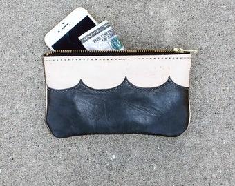 Ocean Wave Leather Pochette - Black