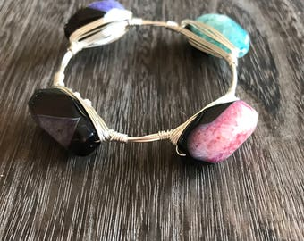 Gifts for her silver wire wrapped multicolored stones pink blue black purple