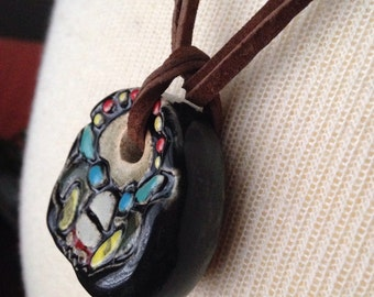 Monster face pendant/ hand carved from white clay/ painted with underglaze/ beautiful intricate detail/ DIY focal point