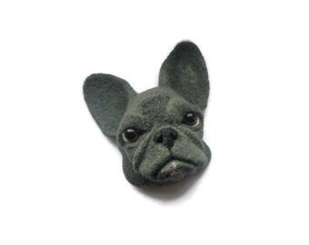 French bulldog head sculpture Needle felted Dog wall art Felt Animal Faux animal heads
