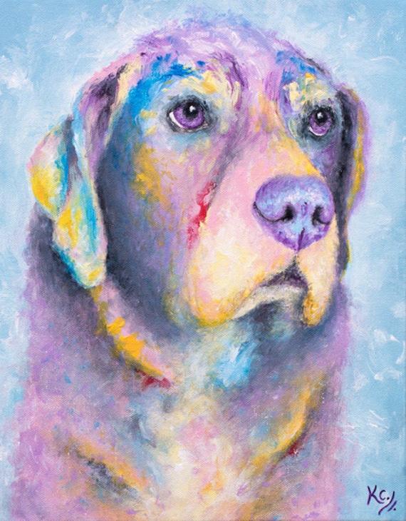 """Labrador Retriever Art - Labrador Retriever Gifts, Black Lab Dog Art, Labrador Retriever Dog Wall Art, Art Print of My Dog Painting """"Myrtle"""""""