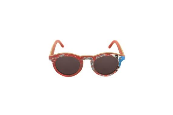Lunettes de soleil 7PLIS #328 skateboard recyclé #BOWL rouge bleu        verre gris catégorie 3