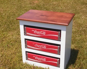 Coca Cola Wooden Soda Crate 3 Drawer Cabinet with Stained Alder Top | Gifts For Men | Man Cave | Game Room | Cabin | Lakehouse