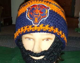 CHICAGO BEARS Bearded Beanie,Customize,Velcro Both Sides Beard & Beanie To Remove Beard and Adjust 4 Perfect fit, Custom Any Size Any Color