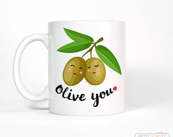 Cute Boyfriend Mug | Gift for Him or Her | Anniversary Gifts for Men | Olive You Love Coffee Mug | Anniversary Gift for Boyfriend Gift