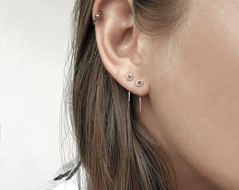 Tiny silver earrings, minimalist earrings, tiny stud earrings, sterling silver earrings handmade, small earring set, minimalist jewelry