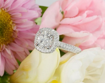 14k White Gold Halo Micro Pave Engagement Ring with 7mm Near Colorless Forever One Moissanite And Diamonds