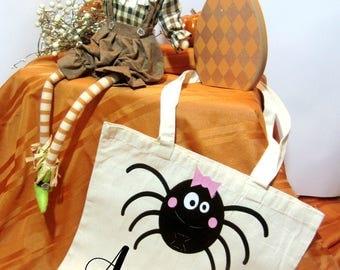 Trick or Treat Bag, Halloween Bag, Treat Bag, Canvas Bag, Personalized Bag, Personalized Halloween Bag, Candy Sack, Spider Bag