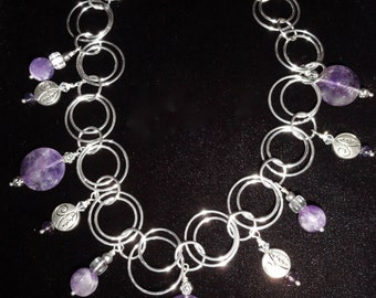 Amethyst Stone Necklace, Faceted Amethyst, with silver/crystal tone accents.  Adjustable 16 to 20 inches.